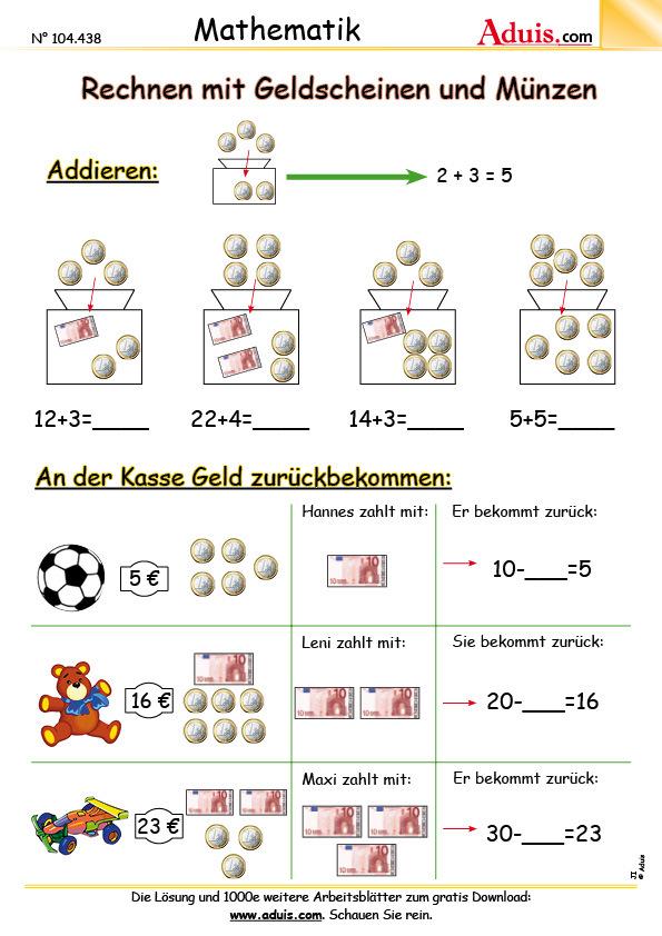 Euro & Cent - Arbeitsblätter | Mathematik | Größen
