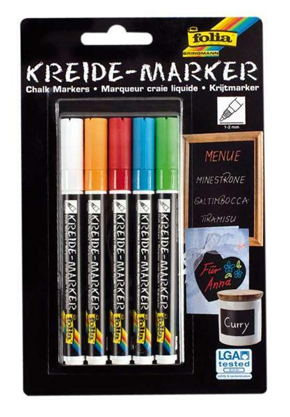 Kreidemarker, 1 - 2 mm, 5er Set
