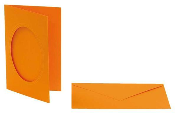 Passepartoutkarten oval, 3er Pkg.orange